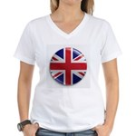 Round Union Jack Women's V-Neck T-Shirt