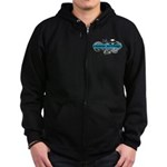 Grimm Apparel's Blue Logo Zip Hoodie (dark)