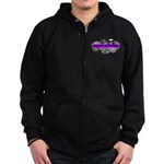 Grimm Apparel's Purple Logo Zip Hoodie (dark)
