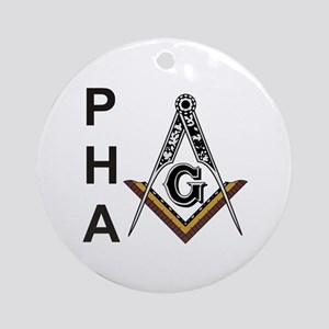Prince Hall Square and Compass Ornament (Round)