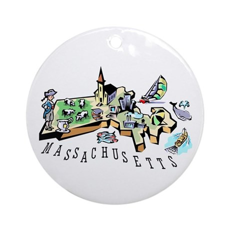 Massachusetts Map Ornament (Round)
