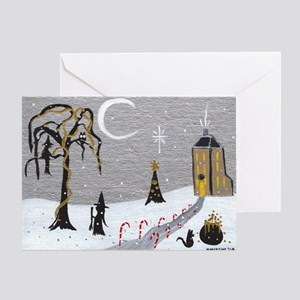 Holiday Witch Candy Cane Greeting Card