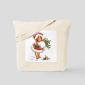 Vintage Christmas Girl Tote Bag