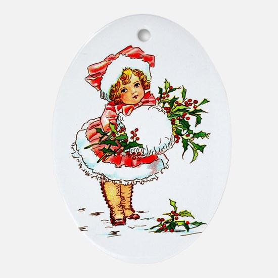 Vintage Christmas Girl Oval Ornament
