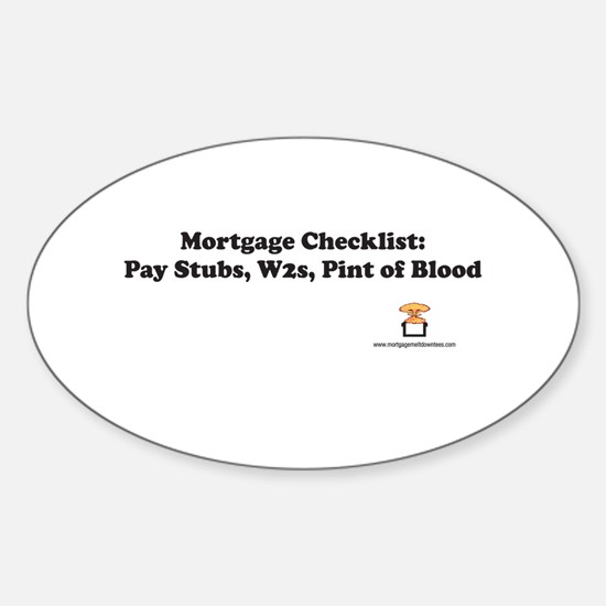 Mortgage Checklist...Blood Oval Decal