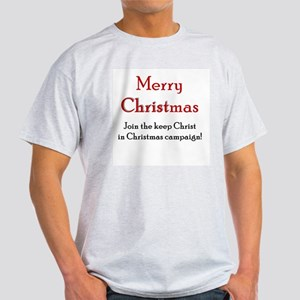 Merry Christmas Campaign Ash Grey T-Shirt