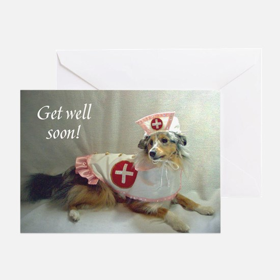 Gell Well Soon Sheltie Greeting Card
