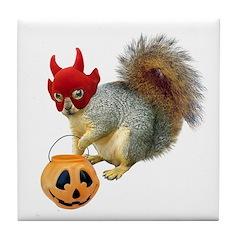 Trick or Treat Squirrel Tile Coaster