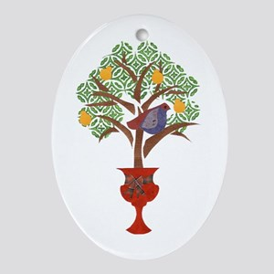 Partridge & Pear Tree Oval Ornament