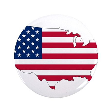 """Stars and Stripes Map 3.5"""" Button"""
