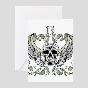 13 Hour Skull Clock Greeting Card