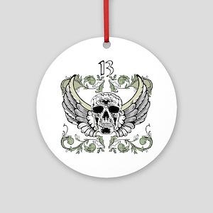 13 Hour Skull Clock Ornament (Round)