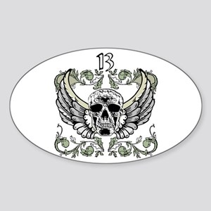 13 Hour Skull Clock Oval Sticker