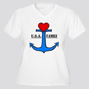 USA Family Anchor Women's Plus Size V-Neck T-Shirt