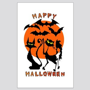 Happy Halloween Bats N Cats Large Poster