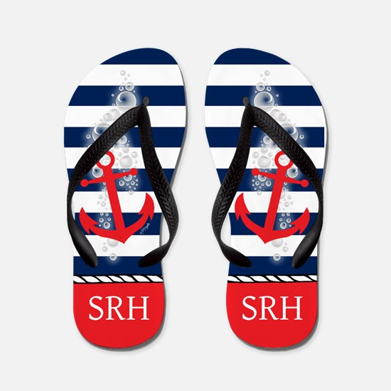 Nautical Wedding Monogram Flip Flops
