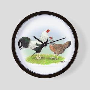 Silver Kraienkoppe Chickens Wall Clock