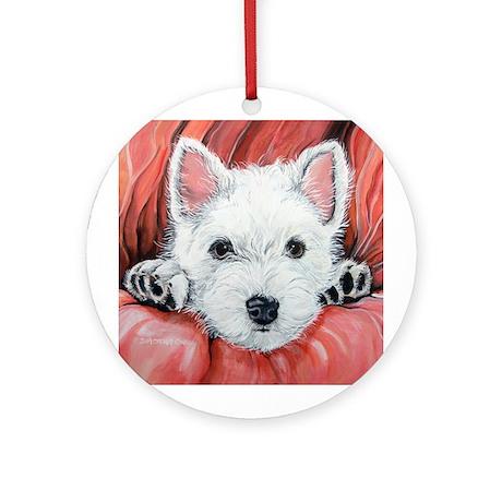 Westie Puppy Love Round Ornament