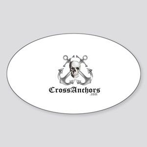 Cross Anchors Oval Sticker