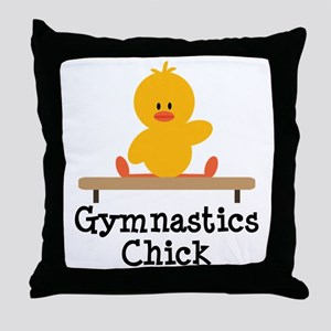 Gymnastics Chick Throw Pillow