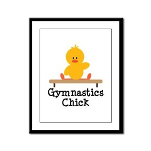 Gymnastics Chick Framed Panel Print