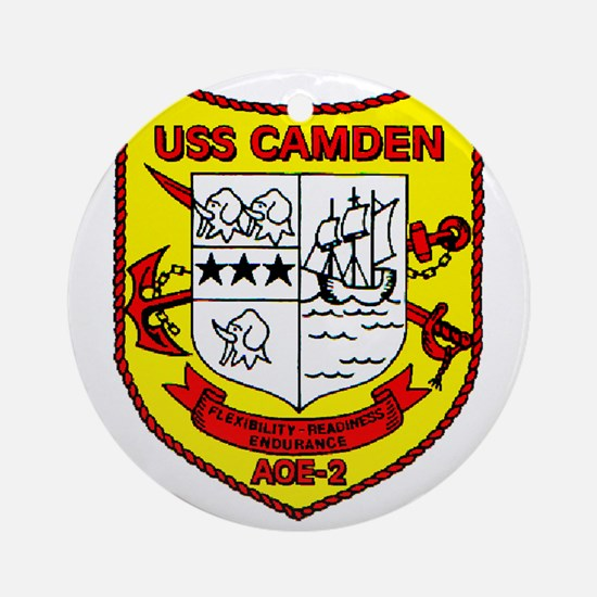 USS Camden AOE 2 US Navy Ship Ornament (Round)