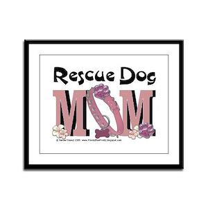 Rescue Dog MOM Framed Panel Print