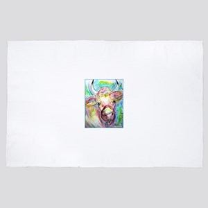 Cow! Colorful, art! 4' x 6' Rug