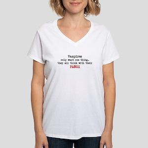 Only Fangs Women's V-Neck T-Shirt