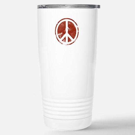 Red Peace Symbol Stainless Steel Travel Mug