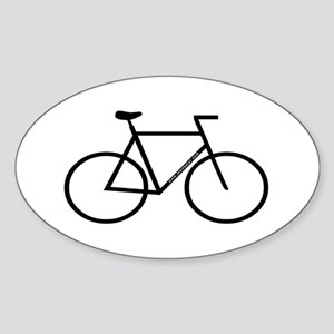 White/Black Bike Oval Sticker