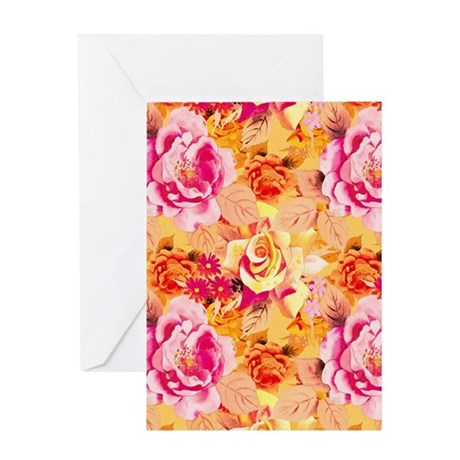 Pink Roses and Orange Floral Greeting Cards