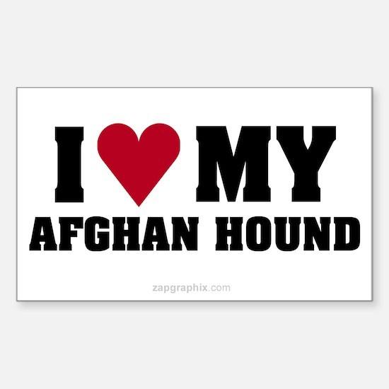 Love My Afghan Hound Sticker (Rect)