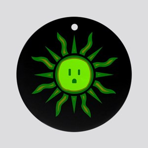 Green Energy Sun Ornament (Round)