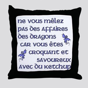 Affairs of French Dragons Throw Pillow