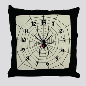 13 Hour Spiderweb Clock Throw Pillow