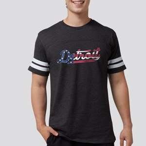 Detroit Michigan USA Flag Pattern American T-Shirt