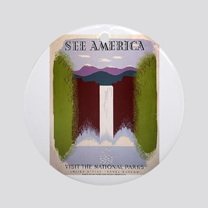 National Park Waterfall Ornament (Round)