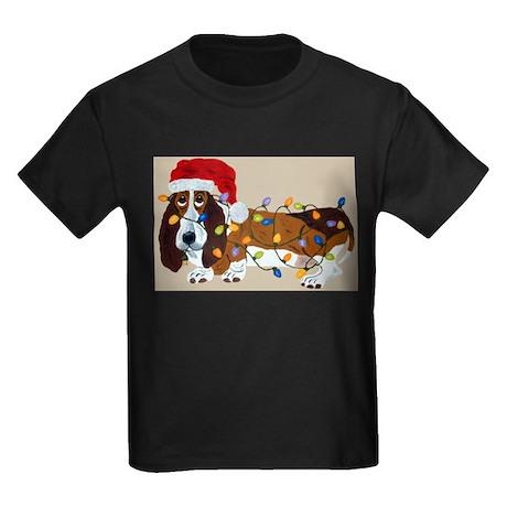 Basset Tangled In Christmas Lights Kids Dark T-Shi