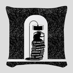 Cat Reading Shakespeare Woven Throw Pillow