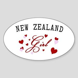 New Zealand Girl Oval Sticker