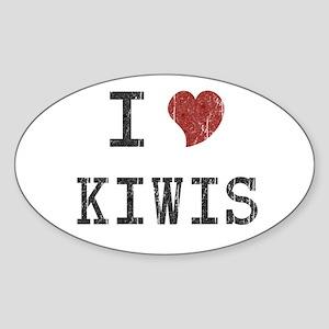 I Love Kiwis Oval Sticker