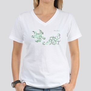 SEA TURTLE-WIDE(Camouflage) Women's V-Neck T-Shirt