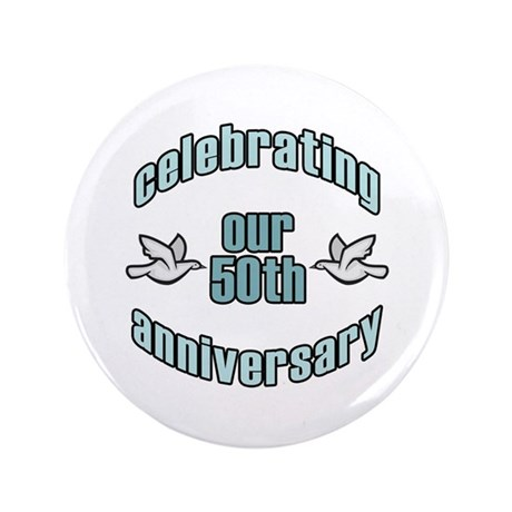 "50th Wedding Doves Anniversary 3.5"" Button (100 pa"