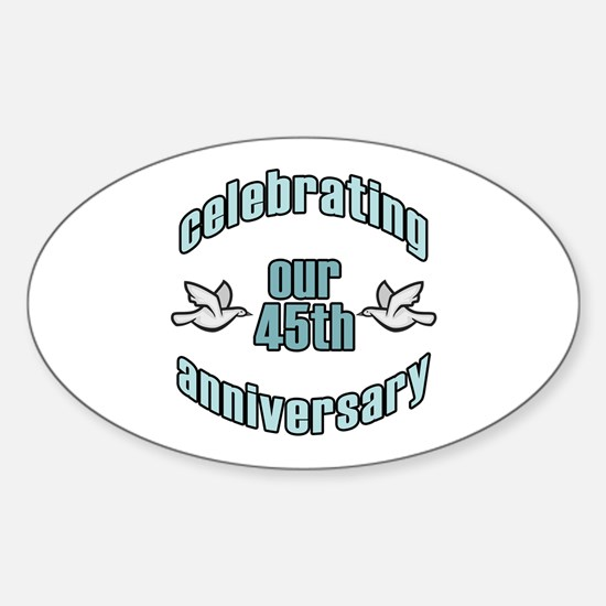 45th Wedding Doves Anniversary Oval Decal