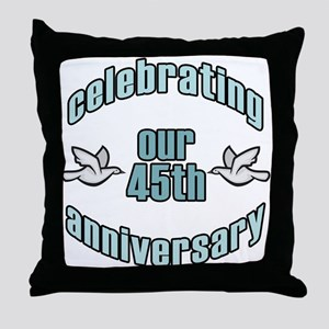 45th Wedding Doves Anniversary Throw Pillow
