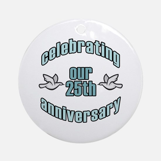 25th Wedding Doves Anniversary Ornament (Round)