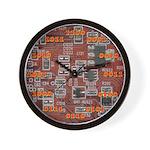 Red Binary Wall Clock