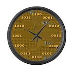 Yellow Binary Large Wall Clock