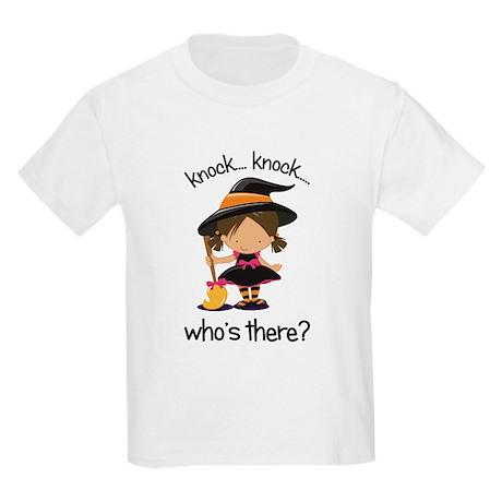 knock knock big sister halloween t-shirt Kids Ligh